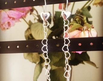 Sterling Silver Handmade Heart Drop Earrings