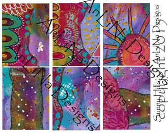 Sunny Hills Printable Art Journal Cards, 3x4, Digital Download