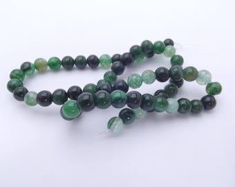 60 agate smooth round beads 6 mm KOA-332-tinted dragon vein