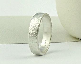 Sterling Silver Wedding Ring - Matte Finish - Terra Texture - Wedding Band -silver wedding ring- silver ring-silversynergy-SilverSynergy -UK
