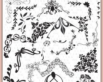 Digital Frames Clip Art  Elegant  Corners Scroll Clip art-INSTANT DOWNLOAD-20 Individual  Embellishments -Personal or Commercial Use