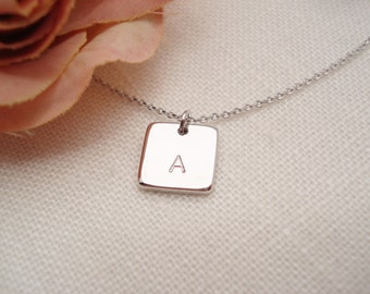 Initial Necklace...Silver square disc personalized jewelry, bridesmaid gift, flower girl, simple everyday, bridal jewelry