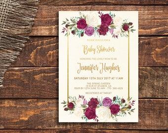 Baby Shower Invite Template, Burgundy Baby Shower Invitation, Elegant Shower Invite, Rustic Floral Invitation, Watercolor Invite DIY Shower