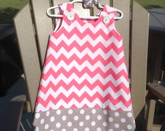 Hot Pink Chevron Dress w Grey Dot Band & Buttons (girls, infant, toddler, child)  jumper or sundress, with matching hair accessory