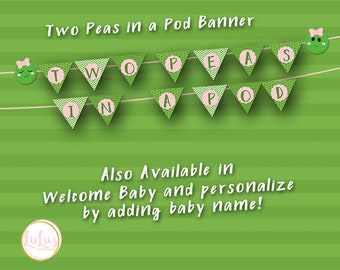 Two Peas in a Pod Baby Shower Banner - Baby Banner - Baby Shower Decor - Two Peas in a Pod Shower