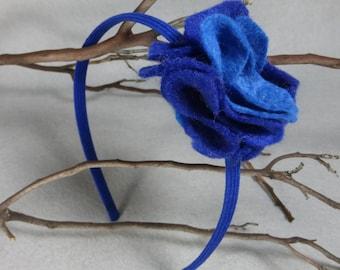 Felt Flower Headband, Blue Felt Headband, Hard Headband, Baby Headband, Girls Headband, Infant Headband, Womens Headband, Head Band