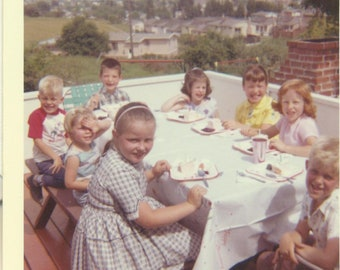 1970s Kids Birthday Party Eating Cake Outside Girls Boys 70s Vintage Photograph Color Photo