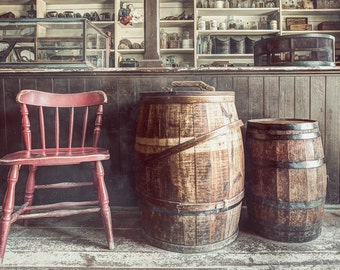 A Red Wooden Chair and Barrels in the Old General Store, 19th Century Variety store, Everything for all your needs, Photography Print