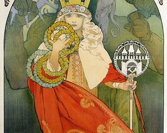 Art Nouveau Poster Advertisement 6th Sokol Festival by Mucha