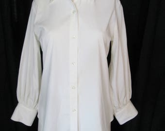 Womens white POLO JEANS long sleeve button front blouse size 8
