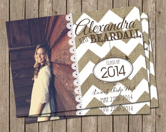 Rustic Graduation Announcement with Burlap and Lace and Chevrons - printable 5x7