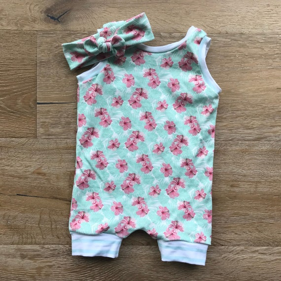 421c42e43ef1 Short Tank Romper with Coordinating Stripe and Top Knot in