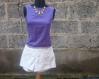 Short shorts, white shorts, cotton shorts, white cotton, white stripes, feminine, tonal, cotton, stripes, size 38/40