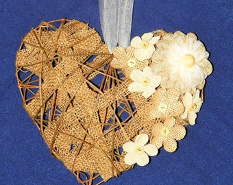 Grapevine Heart Decorated with Burlap, Linen and Burlap Flowers, Hang on Wall Add to Trellis, Arch for Wedding Decoration