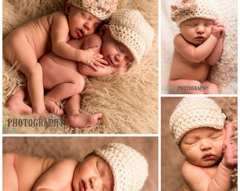 Twin Newborn Baby Crochet Hats, Baby Boy, Baby Girl, Newsboy, Rosette, Cream, Photo Props, Baby Shower Gift, Twin Accessories, Vintage Style