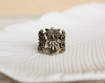 Owl Ring. Filigree Statement Ring. Rustic Woodland Owl Ring. Adjustable.