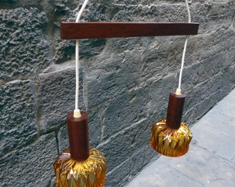Hanging lamp with two pendants on a teak rod, 60s