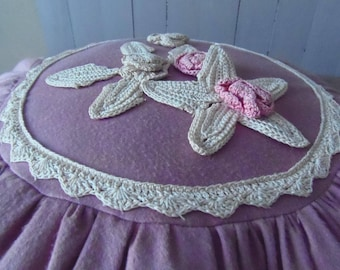 French Vintage Dusky Pink Handmade Round Cushion with Crocheted Flowers