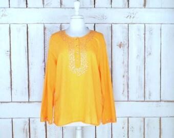 Vintage 90s orange sheer gauzy cotton beaded tribal Indian blouse/peasant top/boho/festival shirt