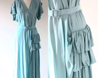 1930s teal crepe dress // 1930s soft teal dress  // vintage dress