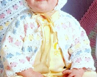 Vintage Crochet Pattern PDF  Baby Matinee Set  Jacket Bonnet Bootees Shawl Pram Cot Blanket or Afghan   Layette Coat Cardigan