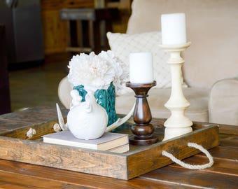 Rope Handled Tray, Rope Tray, Rustic Tray, Serving Tray, Wood Tray, Wood Serving Tray, Rope Serving Tray, Farmhouse Tray,