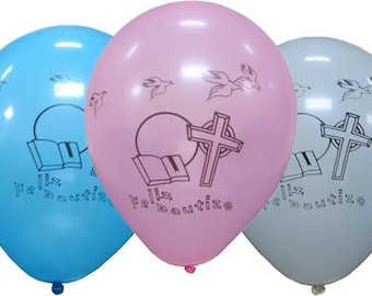 "12"" Feliz Bautizo Latex  Balloons (12) Globos para Feliz Bautizo de Latex"