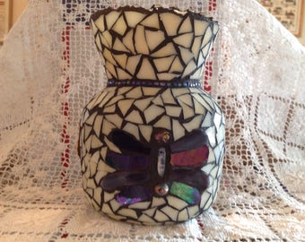 Mosaic butterfly vase