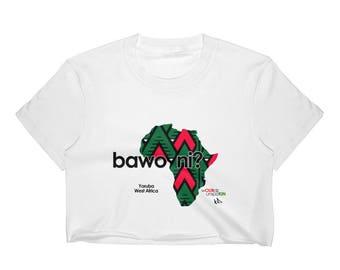 """wOURdz unspoKIN collection: """"bawo ni?"""" Women's Crop Top"""