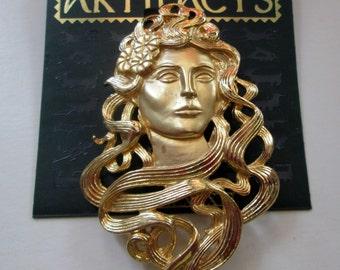 Vintage JJ Pin- Woman Goddess Art Nouveau- Jonette Jewelry  Brooch-Artifacts 1986 collectible-unique gift