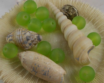 10mm Sea Glass Beads Smooth Round Frosted Matte Pale Green (Qty 8) PH-SG10-PG