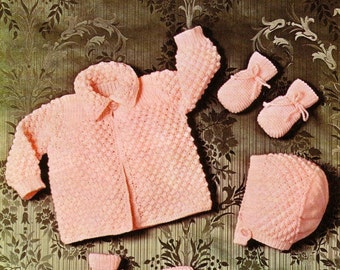 Baby QK Matinee set  Sizes  17 and 19ins - Copley 1022 - pdf of Vintage Knitting Patterns