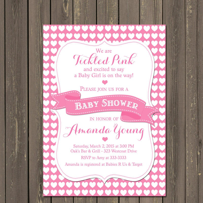 Tickled Pink Baby Shower Invitation Hearts Baby Shower