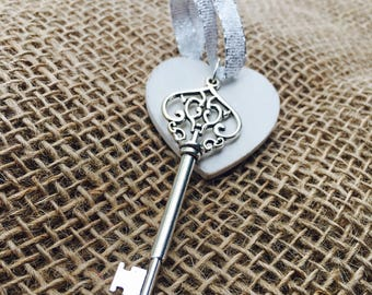 New/First Home Skeleton Key Ornament- Custom Wedding Gift- Personalized Housewarming Gift- Wooden Heart in White