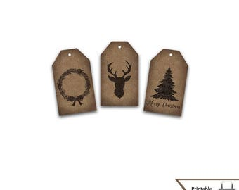 Christmas Gift Tags, Holiday, Printable, Kraft Paper, Vintage Style, Deer, Christmas Tree, Wreath, Rustic, Instant Download, Country