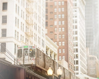 CTA Train Photograph, Chicago Loop, Skyline Photography, Urban Art - Chicago Home Decor, White Wall Art Print, Green Line, Gray, Beige, Pink