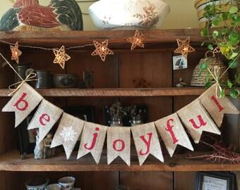 Burlap Be Joyful Banner in Red, Christmas Bunting, Holiday Bunting, Christmas Banner, Christmas Burlap Bunting, Rustic Christmas