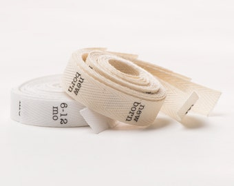 Fold and Sew-in SIZE Labels - Twill Fabric, half-inch ribbon - 50 labels - natural or white - you choose sizes (NO CUSTOM designs)