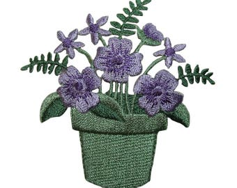 ID 7050 Purple Flower In Pot Patch Garden Blossom Embroidered Iron On Applique