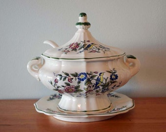 Vintage Hand Painted Covered Stoneware Soup Tureen with Stoneware Ladle and Underplate