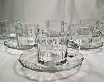 """Set of six vintage (6) Bormioli Rocco Demitasse Cup and Saucer Sets in """"Oxford""""~~~70's Italian tempered glass~~optic style panels"""