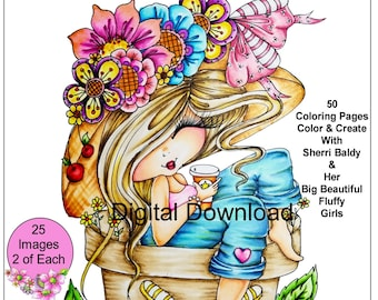 Instant Download Printable Sherri Baldy Fluffys 2 My Besties Coloring Book 25 Pages Big Eye Big Head Dolls