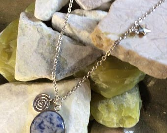 Blue Agate Pendant with crystals and charms