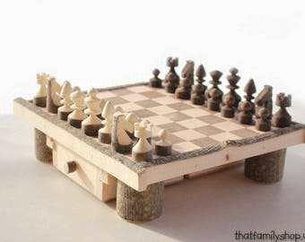 Log Chess Set with Drawers Travel Storage Wooden Chess Board Handmade Handcrafted Unique Chess Set Natural Family Board Game Night