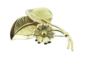 Large Gold Flower Brooch, Gold Flower Pin, Gold Leaf Brooch, Gold Leaf Pin