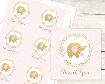 pink gold elephant baby girl shower favor tags printable DIY elephants favour tags pink gold glitter cute thank you card - INSTANT DOWNLOAD