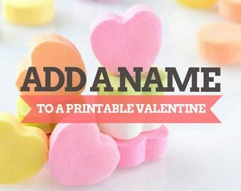 Add a name to a printable Valentine