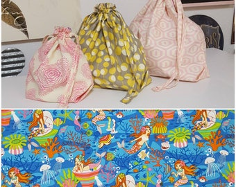 Mermaids Under the Sea: Custom Made to Order Drawstring project bag for knitting with inside pocket