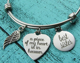 sister memorial jewelry, sympathy gift, memorial bracelet, loss of sister bracelet, in memory of sister, remembrance jewelry sister memorial