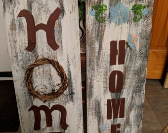 White washed Home signs